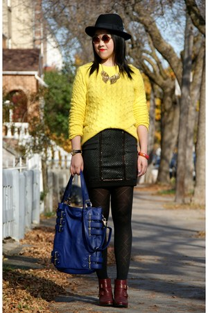 brick red Topshop boots - black H&M hat - yellow JCrew sweater