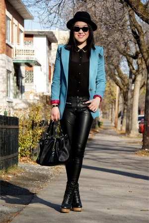 sky blue Olivia blazer - black H&amp;M hat - black H&amp;M pants