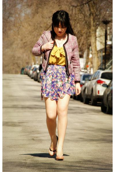purple floral print Olivia skirt - bubble gum H&M blazer - mustard Olivia top