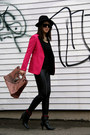 Hot-pink-zara-blazer-black-leather-h-m-pants
