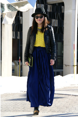 blue American Apparel skirt - black H&amp;M jacket - yellow JCrew sweater