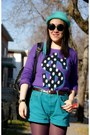 Purple-h-m-sweater-turquoise-blue-h-m-hat-amethyst-urban-outfitters-tights