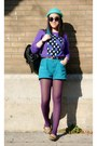 Turquoise-blue-h-m-hat-purple-h-m-sweater-amethyst-urban-outfitters-tights