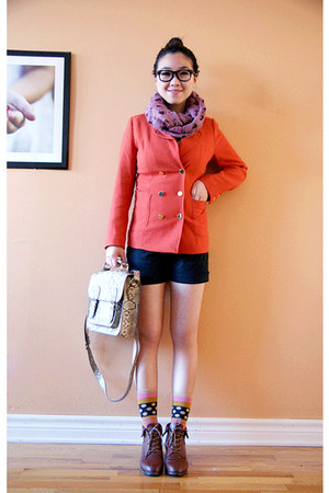 carrot orange H&M blazer - brown Urban Outfitters shoes - pink Olivia scarf