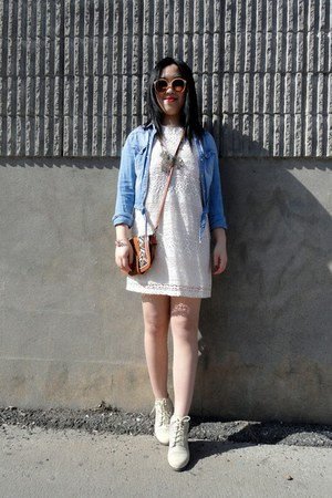 ivory lace Urban Outfitters shoes - ivory lace H&M dress - sky blue H&M jacket