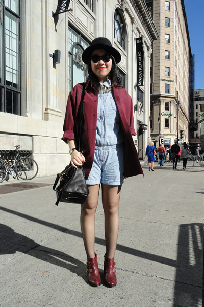 crimson Topshop boots - black H&M hat - sky blue Levis jumper
