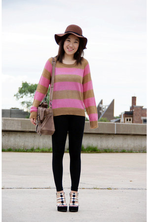 H&amp;M hat - stripes H&amp;M sweater - H&amp;M leggings