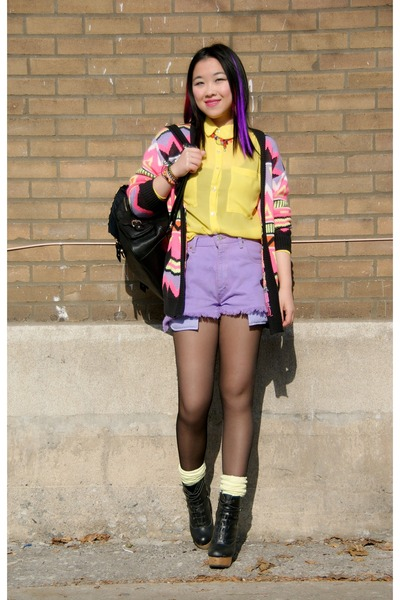 Urban Outfitters boots - American Apparel shirt - Urban Outfitters shorts