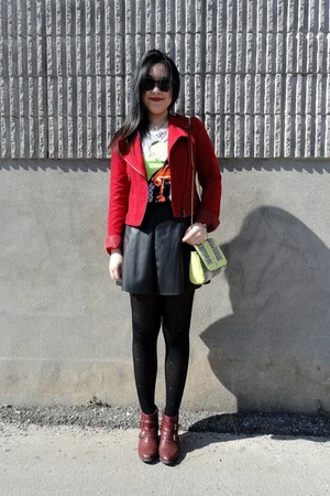 ruby red Forever21 jacket - brick red Top Shop boots - yellow H&M bag