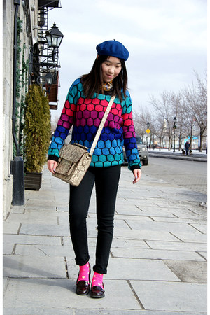 hot pink Urban Outfitters sweater - blue H&M hat