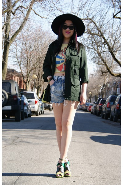 dark green Urban Outfitters jacket - black H&M hat - light blue Levis shorts
