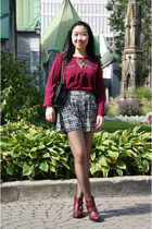 maroon Forever 21 blouse - maroon Topshop boots - black Olivia shorts