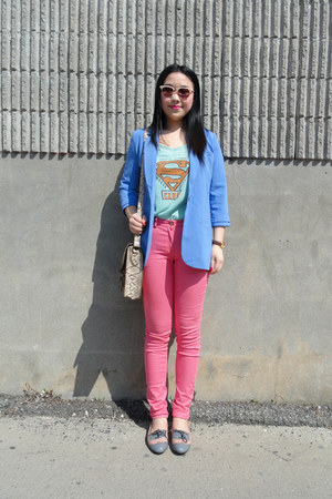 aquamarine Olivia t-shirt - sky blue Forever21 blazer