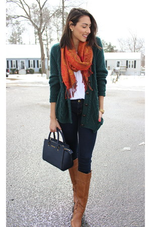 forest green oversized Forever 21 cardigan