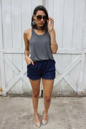 charcoal gray tank top cotton Victorias Secret shirt - navy Marshalls shorts