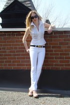 white J Brand jeans - black Chanel sunglasses - black Hermes belt