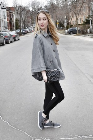 heather gray H&amp;M cape - black David Lerner leggings - black Chanel bag