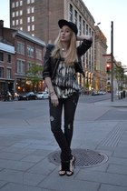 black Genetic Denim jeans - black herve leger hat - black Forever 21 jacket