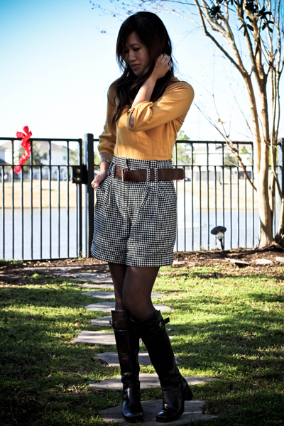 brown Nine West boots - gold Forever 21 sweater