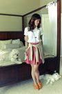 Pink-skirt-white-old-navy-top-brown-shop-in-korea-shoes-beige-banana-repub