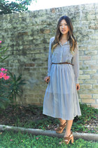 blue shirt dress Forever 21 dress - light brown wood platforms Miu Miu clogs