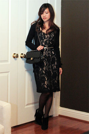 black Club Monaco cardigan - black Club Monaco dress - black Steven by Steve Mad