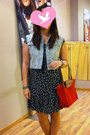 Navy-silk-promod-dress-light-blue-denim-kamiseta-vest