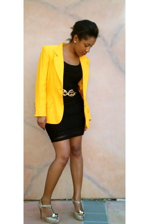 gold Moschino blazer - black Forever 21 dress - gold calvin klein shoes
