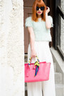 Aquamarine-fluffy-topshop-top-white-palazzo-moussy-pants
