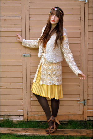 yellow Forever 21 dress - ivory crochet moms closet sweater - brown wedges H&M w