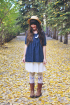 navy OASAP blouse - dark brown boots DNA footwear boots - ivory romwe tights