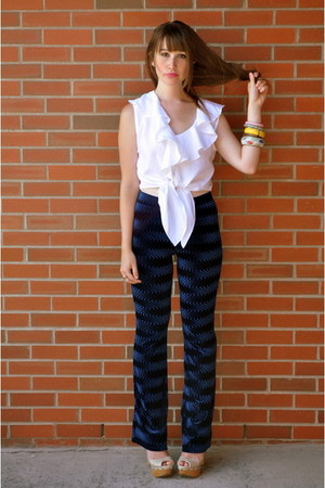 thrifted pants - white blouse thrifted jacob blouse - wedges Aldo wedges