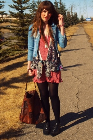 DKNY jacket - handmade dress - forever 21 vest - Value Village shoes - H&amp;M purse