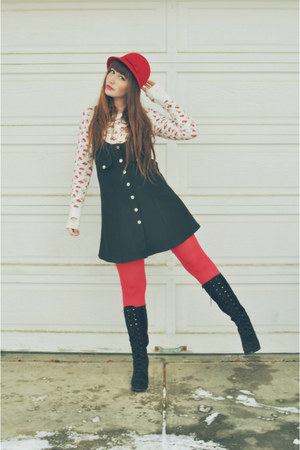 black lace up boots Forever 21 boots - red hat Walmart hat