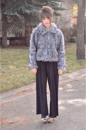 heather gray vintage jacket - black wide leg American Apparel pants