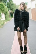 black with bow tie asos dress - black fur Topshop coat - bronze leopard Sportsgi