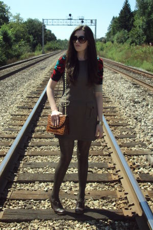 brown thrifted dress