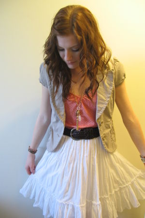 pink top - white skirt - beige jacket - brown belt