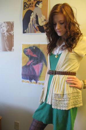 yellow Charlotte Russe cardigan - green Forever 21 dress - white Forever 21 top