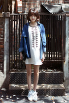 white dress - blue jacket - black purse - white loafers