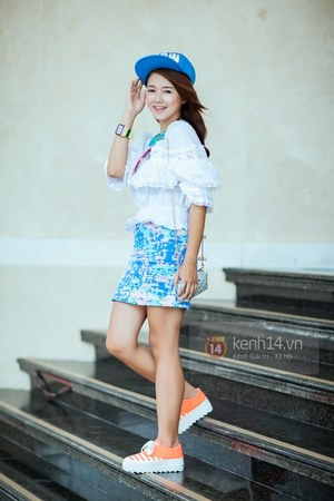 blue hat - white shirt - sky blue skirt - orange sneakers