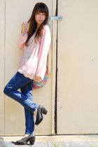 pink vintage blouse - blue bycorpus jeans - black farylrobin shoes - blue vintag
