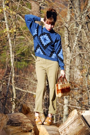blue vintage sweater - olive green vintage pants - brown vintage shoes - brown v