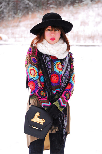 vintage dress - vintage sweater - vintage bag