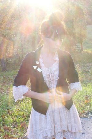 lace dress - boots - knit cardigan