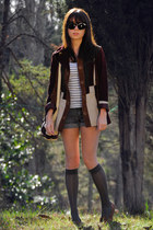 dark brown suede vintage jacket - dark brown moccasins vintage shoes