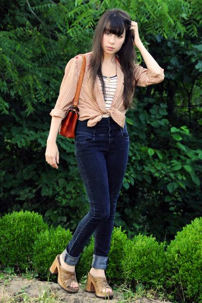 brown wooden vintage Candies shoes - pink vintage blouse