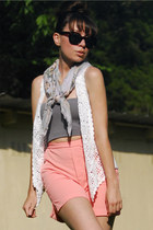 paisley vintage scarf - high rise vintage shorts - crochet vintage vest
