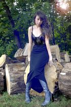 black vintage top - black vintage skirt - silver Luichiny shoes