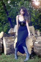 black vintage top - black vintage skirt - silver Luichiny shoes